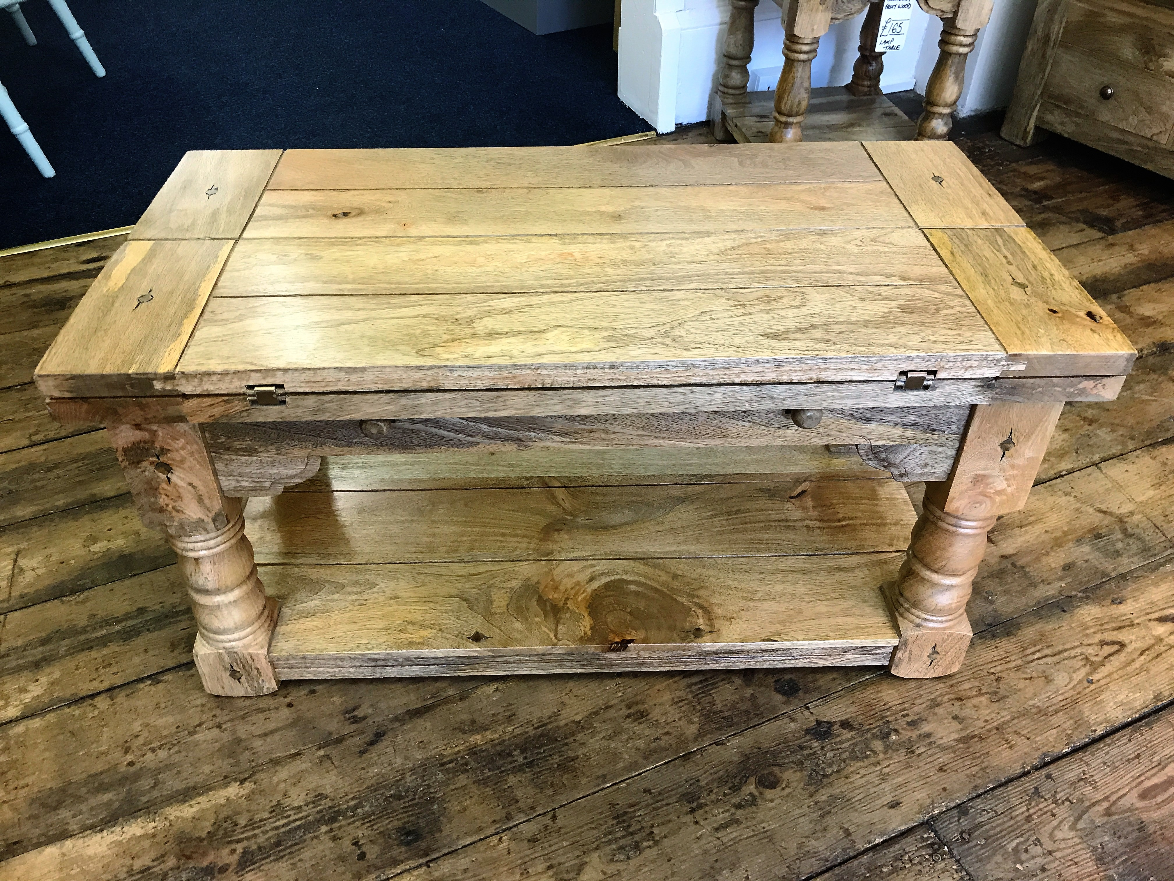 Fruitwood Fold Out Coffee Table 90cm X 45 90cm Now Then
