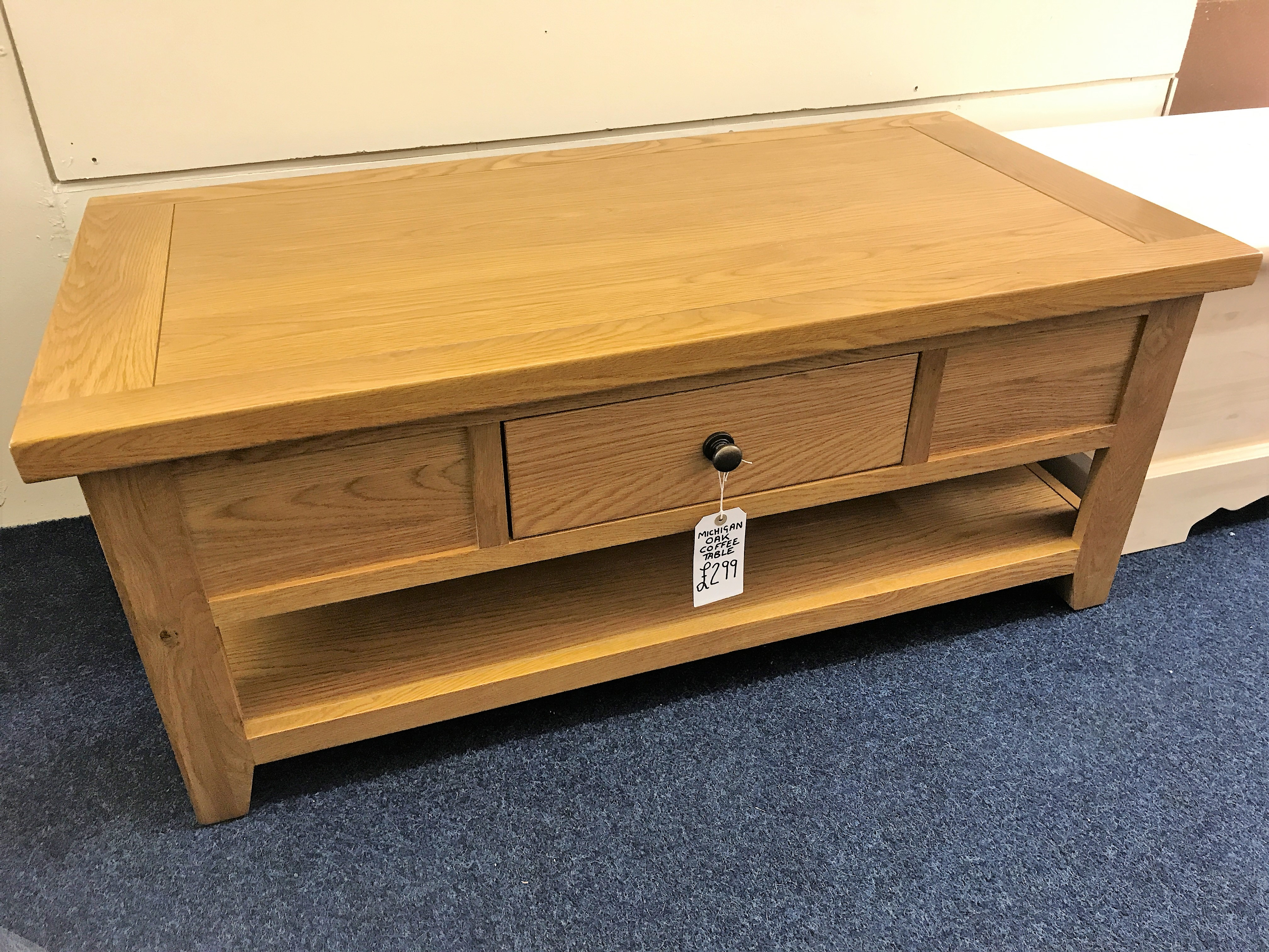 Michigan Oak Coffee Table With Slide Through Drawer